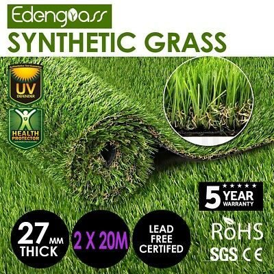 2Mx20M 27mm Artificial Grass Synthetic Turf Fake Flooring Lawn Carpet Plant