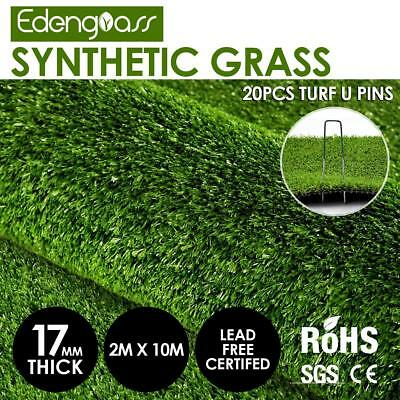2x10M 17mm Artificial Grass Synthetic Turf Fake Flooring Lawn Carpet Plant