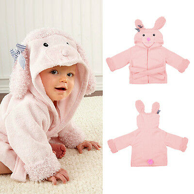 Cute Pink Cartoon Baby Dressing Gown Splash Wrap Bath Hooded Towel Robe 1pc
