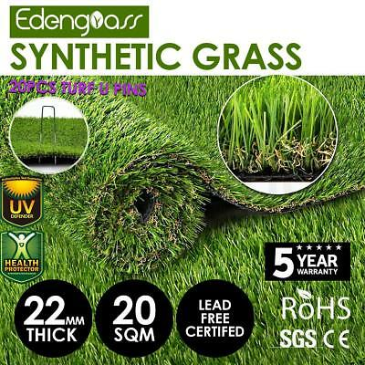 20SQM Artificial Grass Synthetic Turf Plastic Plant Fake Lawn Flooring 22mm