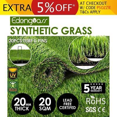2Mx10M 20mm Artificial Grass Synthetic Turf Fake Flooring Lawn Carpet Plant
