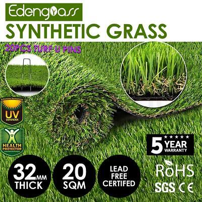 10SQM Artificial Grass Synthetic Turf Plastic Plant Fake Lawn Flooring 32mm