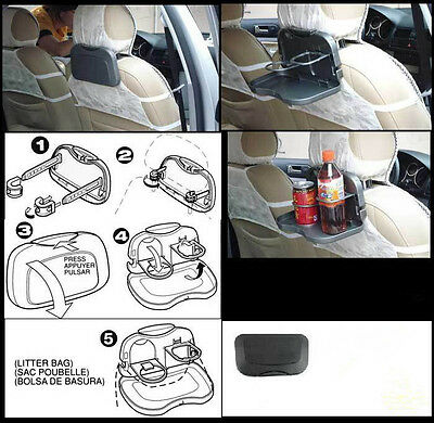 TRIXES Car Headrest Back Foldable Tray and Cup Holders