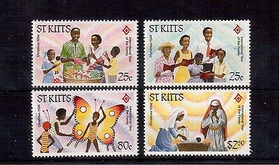 St. Kitts 1994 Christmas #377/80 Vf Nh, International Year Of The Family !!