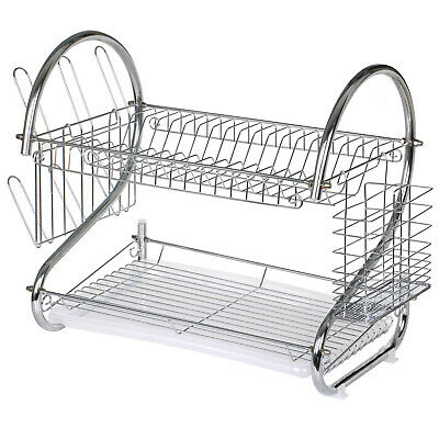 TRIXES Chrome Plated 2 Tier Kitchen Drying Rack Dishes Plates Bowls Mugs Cutlery