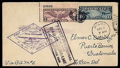 Miami FL to Guatemala 1931 First flight Cover Winged Globe Plate No Single