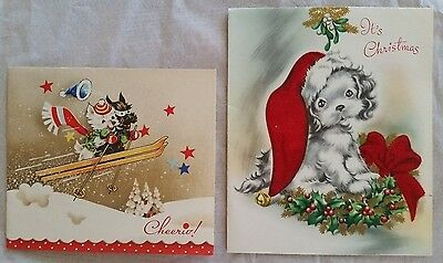 2 Vintage Puppy Dog Christmas Cards