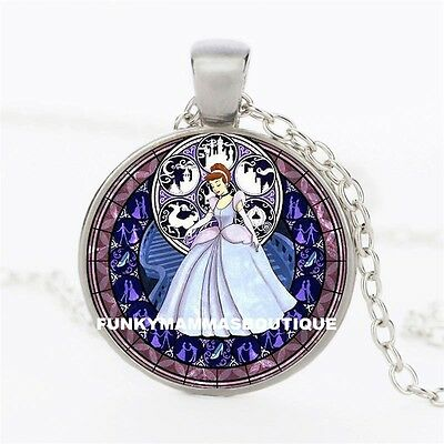 Princess Cinderella Kingdom Of Hearts Glass Pendant Necklace Silver In Gift Bag