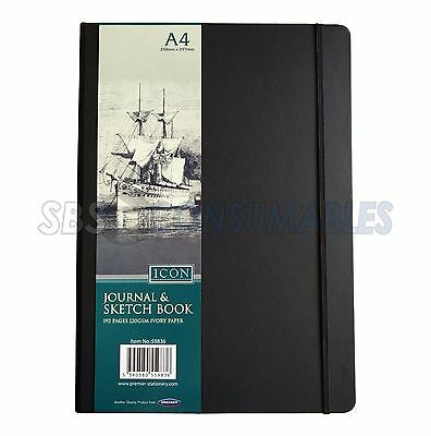 Icon A4 Art Journal Drawing Sketchbook - Black - Ivory Plain Paper 120gsm. 59836