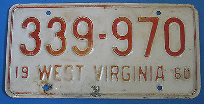 1960 West Virginia State License Plate Tag 339-970 Red On White
