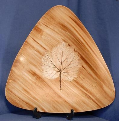 Large Triangular Dish with Impressed Maple Leaf Decoration
