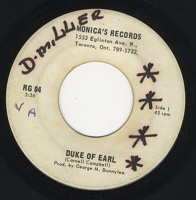 """Cornell Campbell – Duke Of Earl ORIG CANADA 7"""" ROOTS 1975 Monica's Records"""