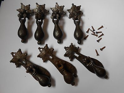 victorian dressers   4 drop  drawer handles  and 3   cupboard door pulls