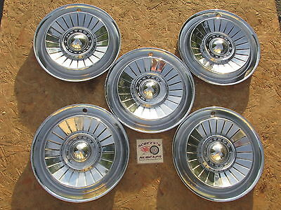 "1957 Mercury Meteor 14"" Wheel Covers, Hubcaps, Lot Of 5, ~Canadian~ ~Rare~"