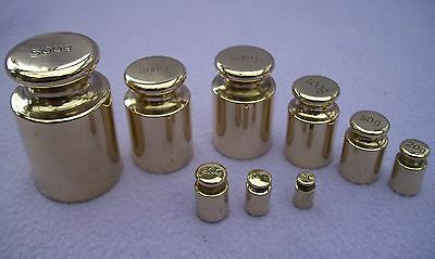 VERY NICE FULL SET OF 9 SOLID BRASS METRIC SCALE WEIGHTS 5g to 500g