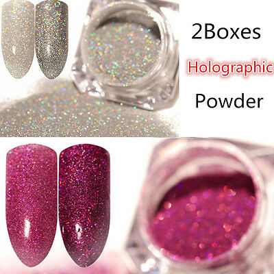 2Boxes Holographic Glitter Powder Dust Holo Laser Nail Art  Manicure Tips DIY