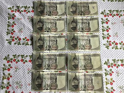 ⭐️ Old Bank Notes 10000 Lire Diecimila Bank Italia Italy 1982 10 X10000 Used ⭐