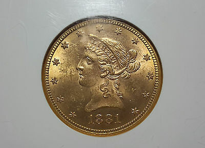 1881-P $10 Liberty Eagle gold NGC MS63 high luster tougher date