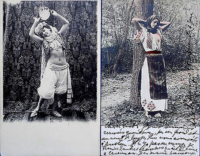 FRENCH N.AFRICAN DANCER & HUNGARIAN GIRL RISQUE BEAUTIES POSTCARDS c1910