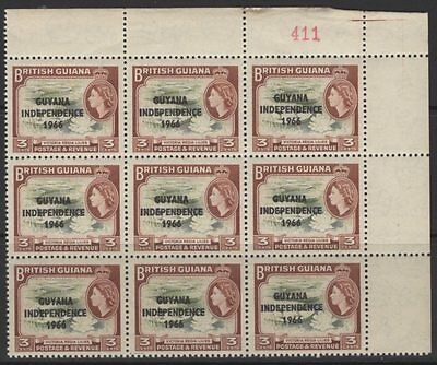 """GUYANA SG379a 1966 3c INDEPENDENCE """"WEED FLAW"""" AS SG333a ROW 3/10 MNH"""