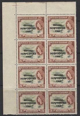 """GUYANA SG379b 1966 3c INDEPENDENCE """"CLUBBED FOOT"""" AS SG333b ROW 4/1 MNH"""