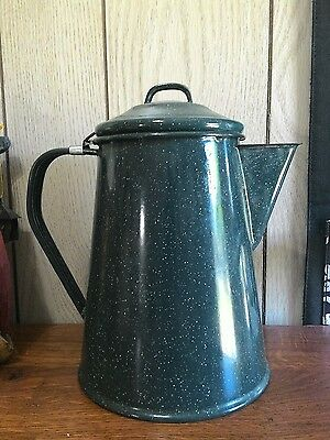 Green speckeled enamel coffee pot percolator stovetop or camping