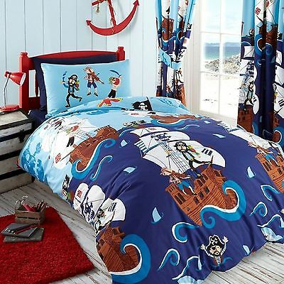 Kids Swashbuckle Pirates Single Duvet/quilt Cover Bedding Set – Blue