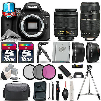 Nikon D3400 DSLR Camera + 18-55mm VR & 70-300mm +EXT BAT + 1yr Warranty + 32GB