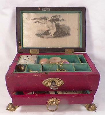 Antique Sewing Box Casket Wood Eliza Snow Lion Handles Claw Feet Victorian Small