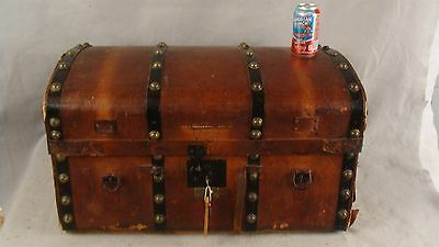 Antique 1840 Carved Wood & Leather Saratoga  Stagecoach Trunk Brass Tacks