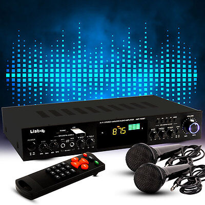 PA Receiver Karaoke Event Verstärker FM Tuner Bluetooth MP3 USB 2 Mikrofone SD