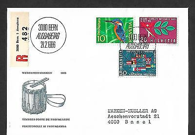 Switzerland 1966 Registered First Day Cover #473/75, Complete Set !!
