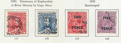 Australia 1930 Capt Sturt And 1930 Surcharges Values  Used, Sg117 To Sg120