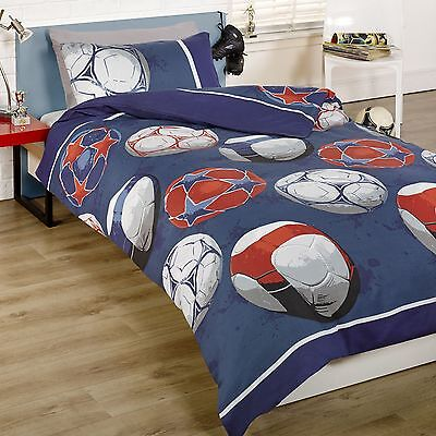 Football Double Duvet Cover Set Blue Soccer Boys Kids Free Delivery