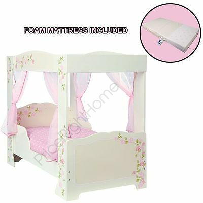 Girls 4 Poster Bed + Foam Mattress + 4 Pink Voile Curtains Fit For A Princess