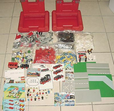 Huge 1985 Lego Sets Lot 22 Figures Over 1000 Pieces 2 Cases Working 7722 Train