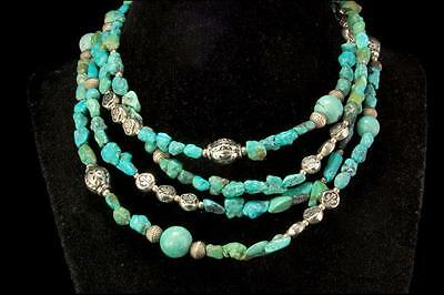 "Vintage Chinese Turquoise Silver Beads Necklace 58"" Long D64-10"
