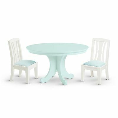 New in Box American Girl Dining Table and Chairs F7956 Blue Green