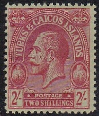 TURKS & CAICOS #56 MNH 2sh RED, GREEN WMK. 3 KING GEORGE V (INSCRIBED POSTAGE)