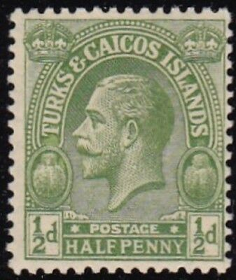 TURKS & CAICOS #45 MLH 1/2p GREEN KING GEORGE V (INSCRIBED POSTAGE)