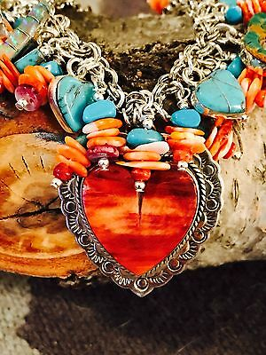 Native American Turquoise CHARM Bracelet  Hearts,Comes With POSITIVE ENERGY