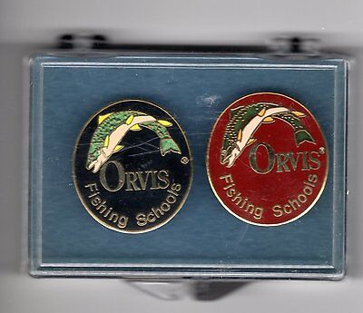 2 X Orvis Fishing Schools Pin Badge-Michigan Deer Bear Patches
