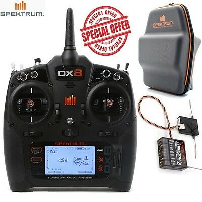 Spektrum DX8 Gen 2 DSMX® 8-Channel Transmitter Mode 2 w/ AR8000 Receiver + Bag