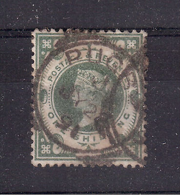 GREAT BRITAIN 1887 Scott # 122, 1 shilling green Used F, Value is $70 !!