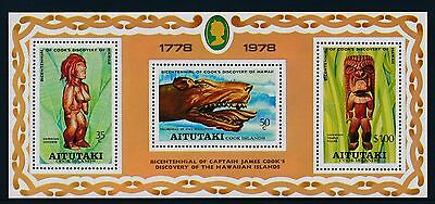 1978 Aitutaki Captain Cook Discovery Of Hawaii Minisheet Fine Mint Mnh/muh