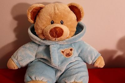 """TY Pluffies PJ Teddy Bear Love To Baby Tan Brown Hood Blue 2010 Plush 10"""" Toy"""