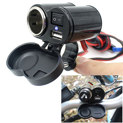12V Waterproof Car Motorcycle Cigarette Lighter Power Socket Plug Outlet + USB