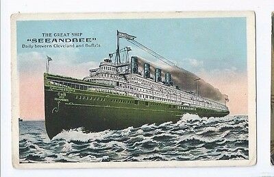 Postcard Seeandbee Steam Ship Cleveland to Buffalo Sugerman Bros.