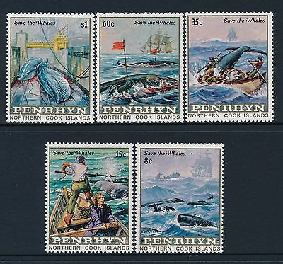 1983 Penrhyn Save The Whales Set Of 5 Fine Mint Mnh/muh