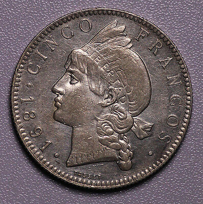 1891 Dominican Republic 5Francs Silver Luster Aunc Old Cleaning
